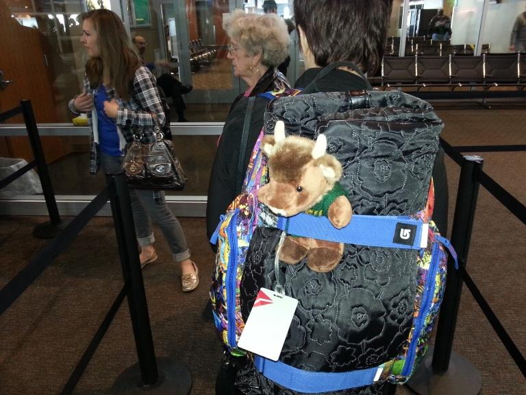 Thundar in line at Fargo airport.