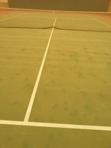 It's easy to see where your shots land when the court has a thin coat of sand!