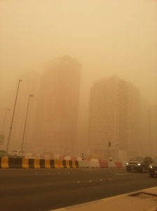Downtown Abu Dhabi. Visibility was better here then on the coast there we live (see below).