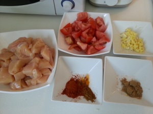 All ingredients are prepped